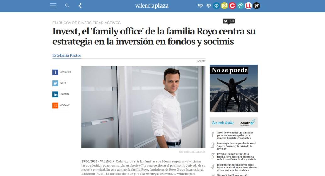 EN LOS MEDIOS | Invext, el 'family office' de la familia Royo centra su estrategia en la inversión en fondos y socimis