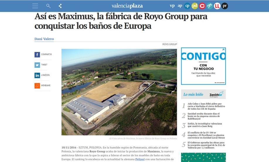 EN LOS MEDIOS   Así es Maximus, la fábrica de Royo Group para conquistar los baños de Europa